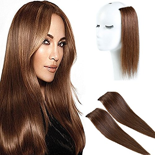 2 Pieces/50g Brown Human Hair Clip in Hair Extensions 14inch,Straight Hairpiece about 25g/pc ()