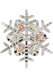 Black Hills Gold by Coleman Sterling Silver Snowflake Brooch
