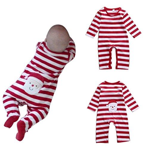 Switchali baby Mädchen Weihnachten Overall Langarm Gestreift Body kletternde Kleidung (12M, Rot)