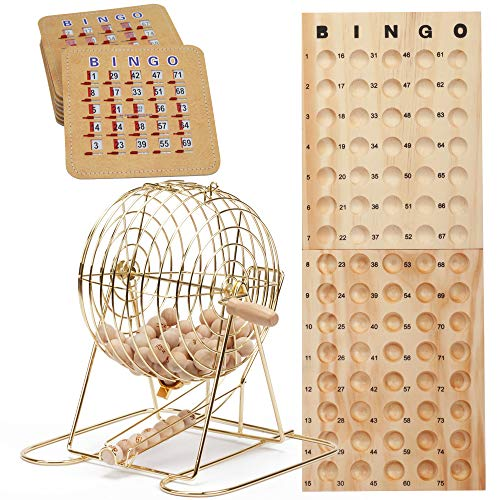 GSE Games & Sports Expert Deluxe Bingo Game Set with Masterboard, Bingo Balls,Bingo Cards (Brass/Black) (Brass) ()
