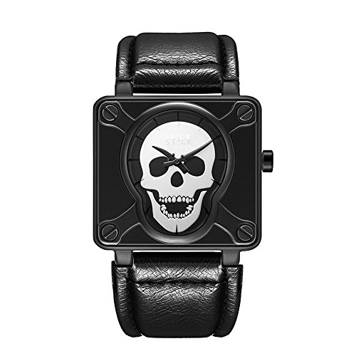 (Square Fashion Waterproof Quartz Skull Watch Leather Band (Black/White))