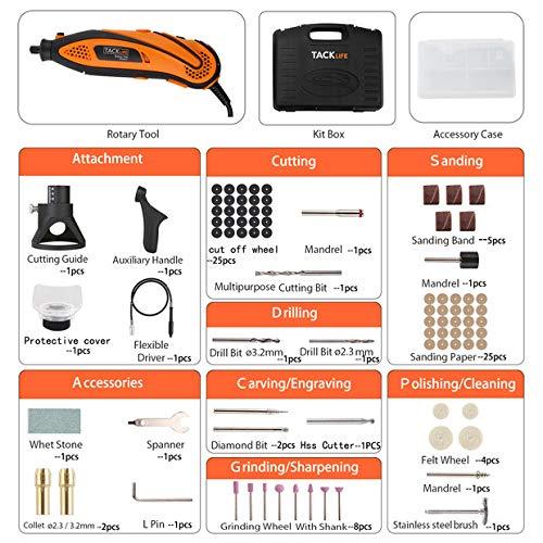 Tacklife Outil de Rotatif multifonction 135W //Sculpter//D/écouper//Polir//Contr/ôle de Profondeur //80 Accessoires//Conception Ergonomique RTD35ACL Outil Rotatif Electrique