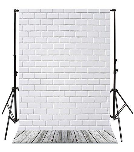 Yeele Photography Backdrops 5x7ft/1.5 X 2.1M White Brick Wall Wood Floor Photo Backdrop For Photography Background Studio Props Video Shooting by Yeele
