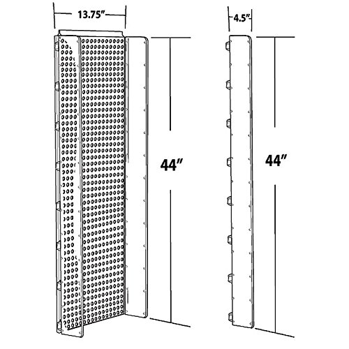 New Clear Pegboard Powerwing Display with Plastic Side Wings 13.75''w x 44''high