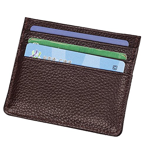 Holder Genuine Case Leather Wallet Unisex A Card Slim coffee Credit Hibate Black Sleeve OY0wO