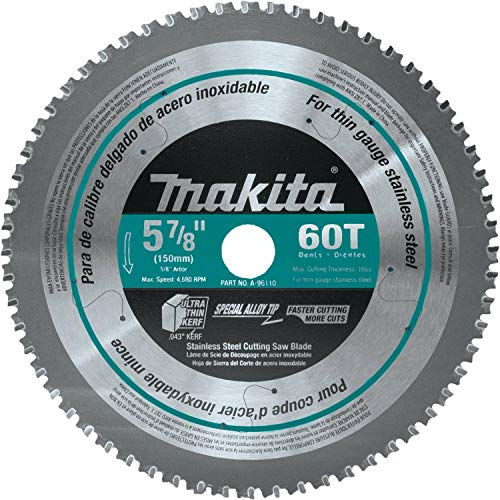- Makita A-96110 60T Stainless Steel Carbide-Tipped Saw Blade, 5-7/8