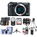 Canon EOS M6 24MP Mirrorless Digital Camera Black - Bundle With Holster Case, 32GB SDHC Card, Tripod, Memory Wallet, Cleaning Kit, Remote Controller, Card Reader, Table top Tripod, Software Package