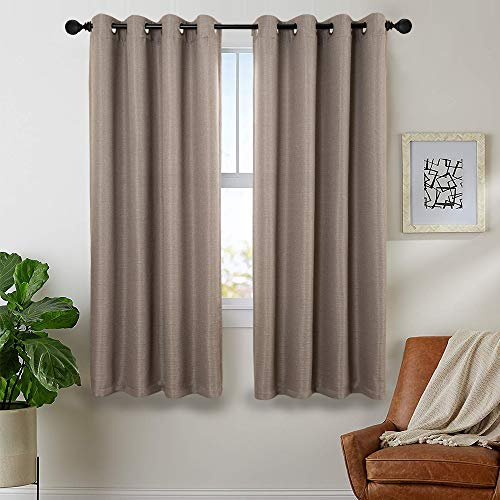 Vertical Striped Linen - jinchan Linen Textured Jacquard Curtains for Living Room Vertical Striped Window Curtains for Bedroom Grommet Top Curtains 2 Panels 45