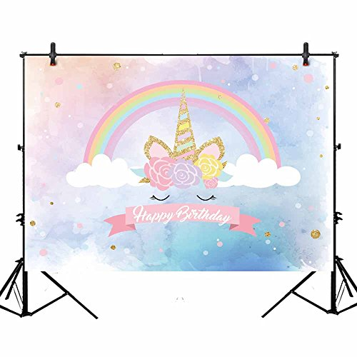 Allenjoy 7x5ft Unicorn Backdrop for Birthday Party Magic Sky Rainbow Gold Horn Children Newborn Baby Shower Photography Background Photo Booth by Allenjoy