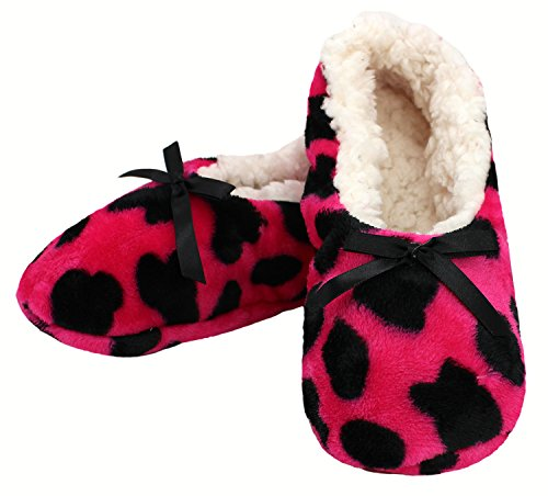 Enimay Womens Animal Print Fuzzy Soft Slipper Socks Anti-Slip Sole House Shoes Hot Pink | Black Bow 2