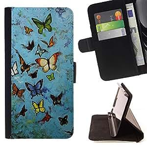 For HTC One Mini 2 M8 MINI Case , Rústica azul Street Art Graffiti- la tarjeta de Crédito Slots PU Funda de cuero Monedero caso cubierta de piel