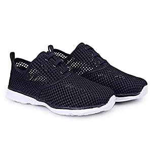 BOKEN Women's Quick Drying Aqua Water Shoes Lightweight Sneakers?Black&White)-40