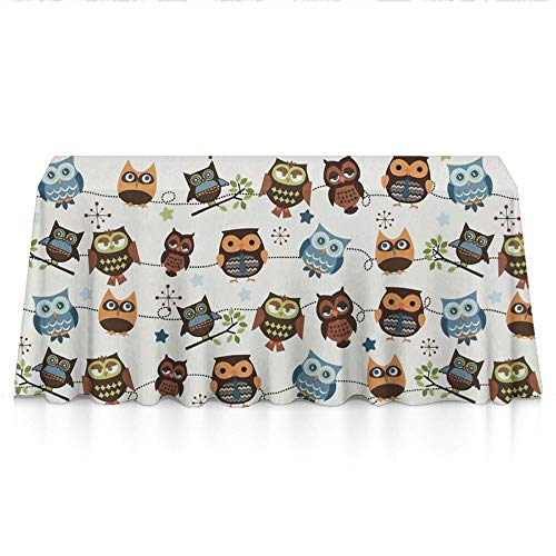 (Rectangle Tablecloth - 60x90 Inch - Cute Owl Patterns Rectangular Table Cloth in Washable Polyester - Great for Buffet Table, Parties, Holiday Dinner, Wedding & More)