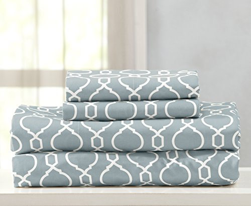 Jasmine Collection Egyptian Quality Double Brushed Microfiber Sheet Set. Hypoallergenic, Wrinkle & Fade Resistant Bed Sheets with Geometric Pattern. By Great Bay Home Brand. (Queen, Pearl Blue) (Discount Bed Sheet Sets)