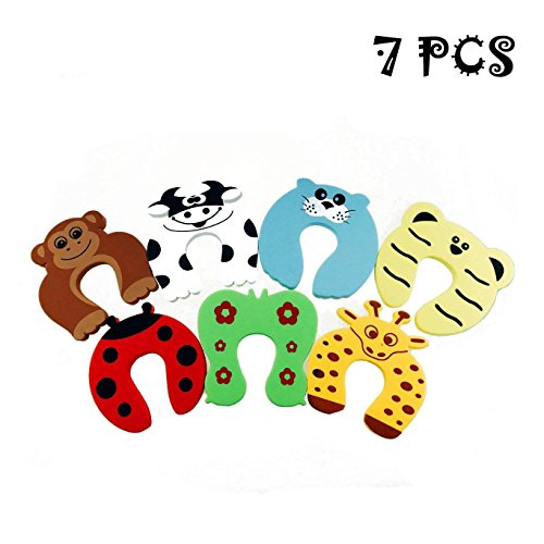 Cartoon Door - Acmer Children Safety No Finger Pinch Foam Door Stopper. Colorful Cartoon Animal Cushion - Ramdom Bundled Baby Child Kid Cushiony Finger Hand Safety, Curve Shaped Door Stop Guard 7 PCS Set