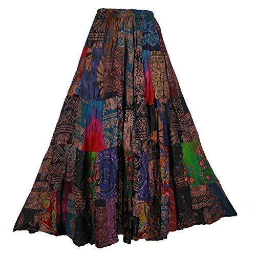 BONYA Women's Hippie Boho Tie Dyed Patchwork Elastic Stretch Waist Skirt (Color9)