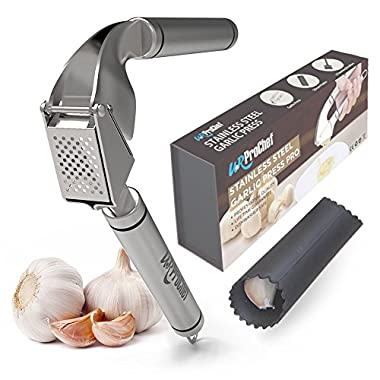 U.RProchef Stainless Steel Garlic Press - Set of Heavy Duty Crusher and Silicon Roller for Peeling Clove Skin. Free Cleaning Brushes