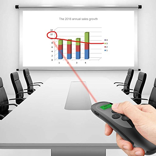 Presentation Remote, Doosl Rechargeable Wireless Presenter with LCD Display, 2.4GHz Wireless USB Powerpoint PPT Clicker Remote Control (Black) by Doosl (Image #7)