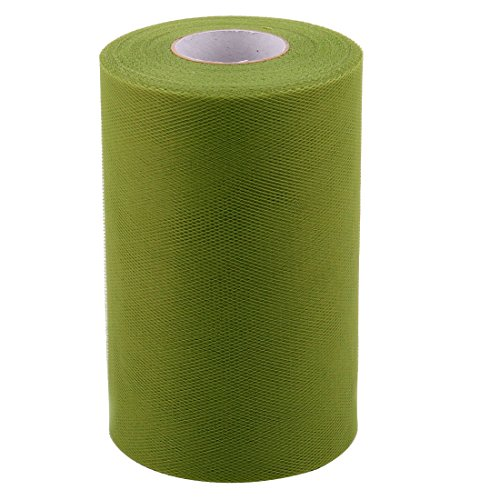 uxcell® Polyester Home Dress Tutu Gift Decor DIY Craft Tulle Spool Roll 6 Inch x 100 Yards Olive Green -