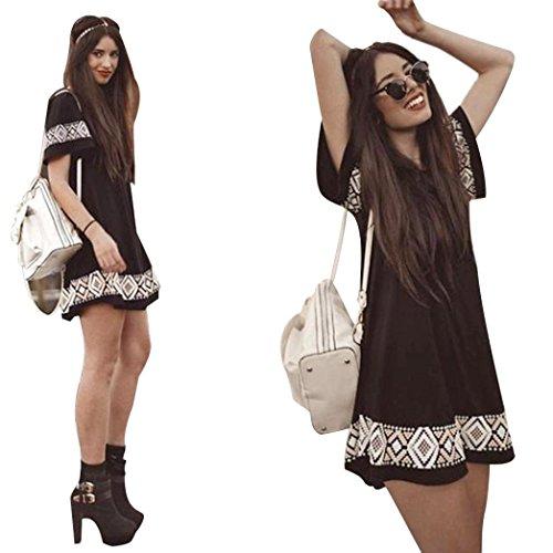 Women Casual Dress, Misaky O-Neck Short Sleeved Printed Short Vintage Mini Dress (XL, Black)