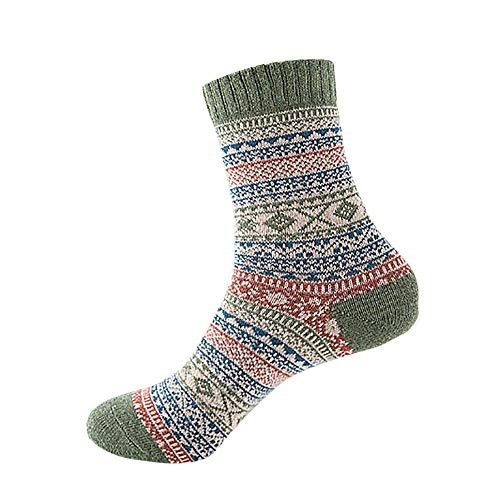 (Unpara 2018 Womens Vintage Winter Geometry Print Soft Warm Thick Cold Knit Wool Crew Socks (Green))