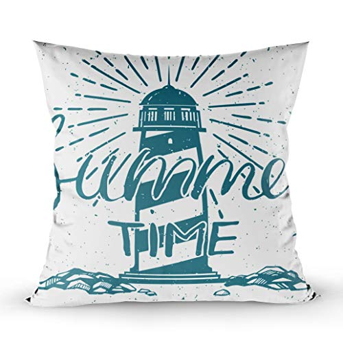 (GROOTEY Outdoor Pillows Covers, Square Pillowcase with Zip Couch Sofa Décor Retro Style Card Lighthouse Summertime 18X18Inch Throw Cushion)