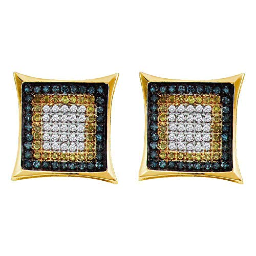 10kt Yellow Gold Mens Yellow Blue Color Enhanced Diamond Square Cluster Earrings 1/3 Cttw