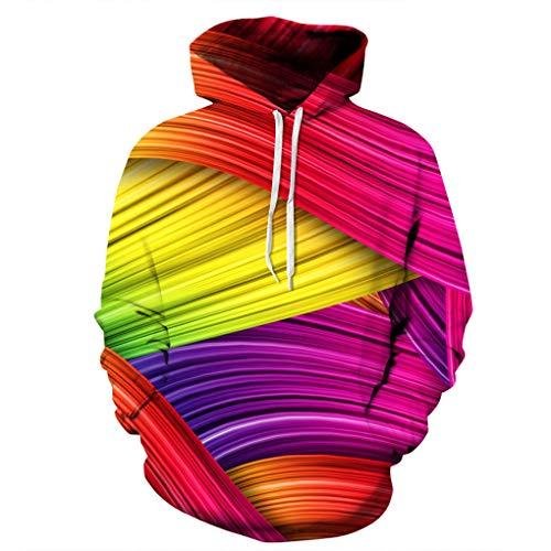 Jennurichy 3D Ribbed Digital Print Long-Sleeved Hooded Couple Loose Baseball Uniform Hoodie Photo Color M