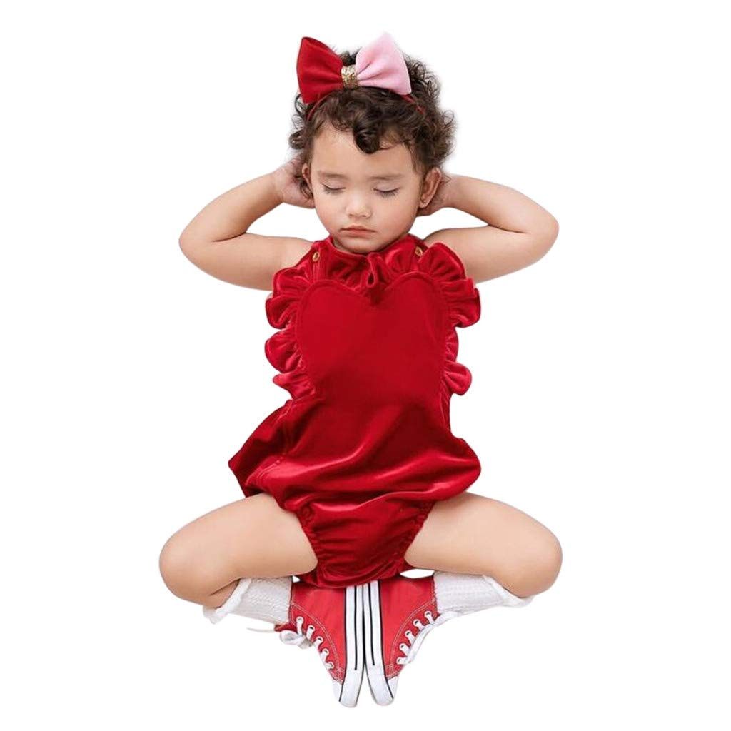 NUWFOR Newborn Infant Baby Girls Color Solid Ruffles Backcross Romper Bodysuit Outfits(Red,0-6 Months)