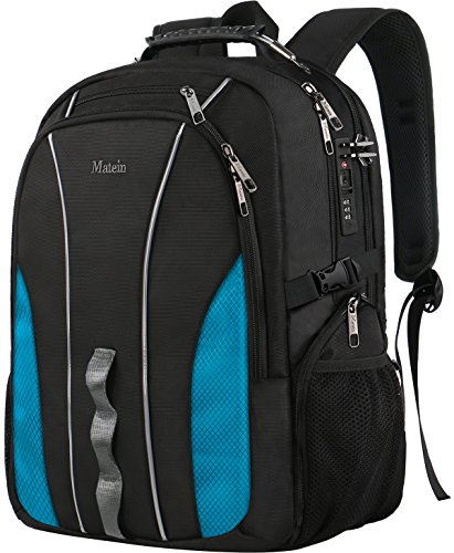 Large Laptop Backpack, Business Travel Big Student Backpack for 17 Inch Notebook, TSA Friendly Water Resistant Durable Luggage Strap Bagpack for Men Women with Lock/USB Charging Port (Lock Notebook Durable)
