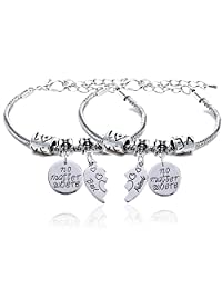 lauhonmin BBF Best Friends Bangle Bracelets No Matter Where Compass Split Broken Heart Double Pendant Friendship Gift 2pcs
