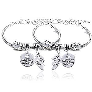 2pcs BBF Best Friends No Matter Where Compass Split Broken Heart Double Bracelets Set Friendship Gift (Charm Bracelet)
