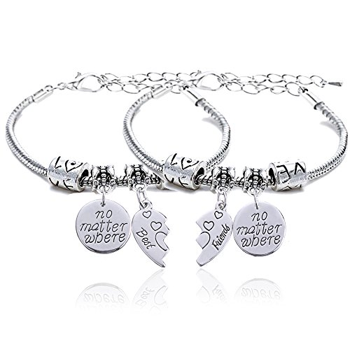 2pcs BBF Best Friends No Matter Where Compass Split Broken Heart Double Bracelets Set Friendship Gift (Charm Bracelet)
