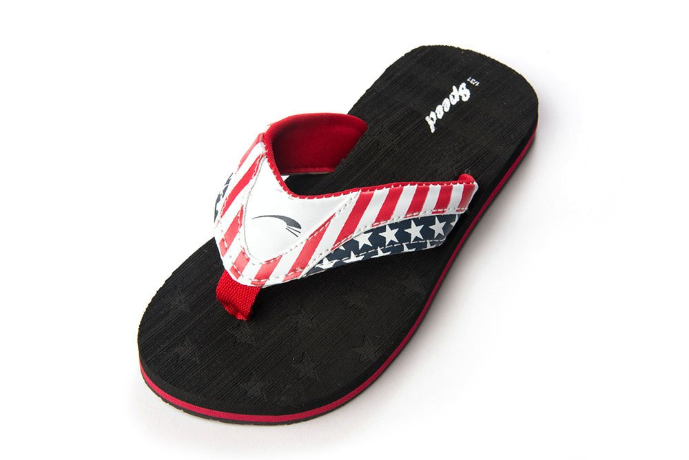 Just Speed USA Flag Flip-Flops Slide On Sandals Cool Comfortable Light Fashion Pool Beach Sand Travel Summer Indoors Outdoors (4, Black)