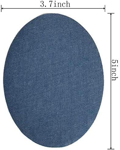 AXEN 12 Pieces Iron On Denim Patches for Clothing and DIY Repair Sewing Repair Patches Oval, 4 Colors