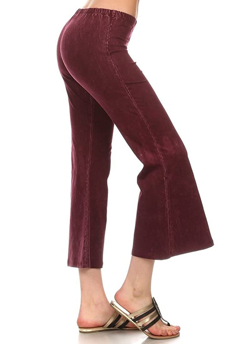 Denim Cropped Yoga Pants Burgundy