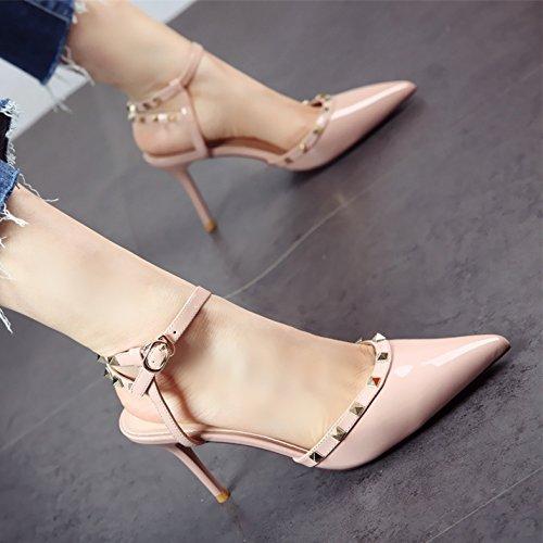 Damas Superficial de Delgada Sandalias tacón YMFIE Sexy a Sharp de Verano Zapatos Remache SPqRf