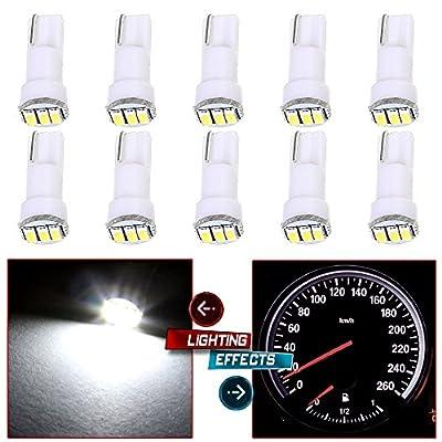 cciyu 10 Pack White T5 73 Wedge 3-3014SMD Instrument Gauge Dash Light LED Bulbs: Automotive