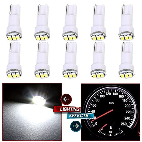 CCIYU 10 Pack White T5 73 Wedge 3-3014SMD Instrument Gauge Dash Light LED Bulbs For 1996-1997 1999-2003 GMC Yukon XL 1500 K3500 Suburban K2500 K1500 Savana 1500 Sierra 2500 (2002 Civic Dash Kit)