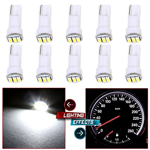 2009 Nissan Altima Dash - cciyu 10 Pack White T5 73 Wedge 3-3014SMD Instrument Gauge Dash Light LED Bulbs