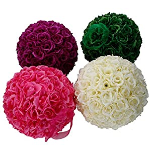 Amailtom 10 Inch Artificial Satin Flower Ball Romatic Wedding Flower Balls Kissing Balls Bouquet for Bridal Wedding Party Ceremony Centerpieces Decoration 98