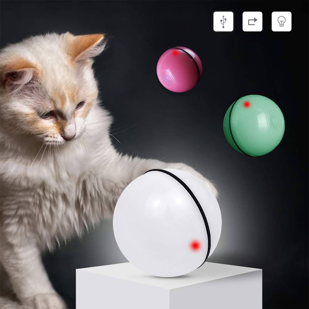 liuqingwind Automatic USB Rechargeable LED Light Pet Ball Exercise Chaser Toy for Cats Dogs White by liuqingwind