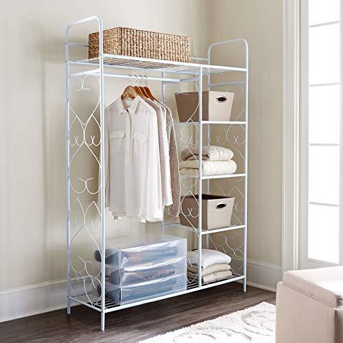 White Wardrobe Closet - BrylaneHome 5-Tier Metal Closet with Hanging Rod - White