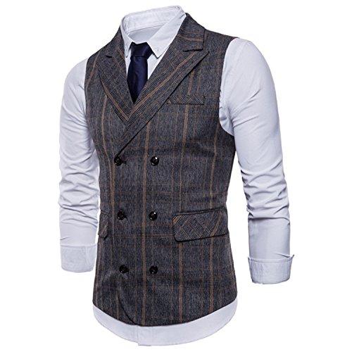 Double Aux Gray Les Sans Gilet Hommes Deep Convient Costume De Homme Automne Comradesn À Robe D'affaires Manches Boutonnage Gilets Rayures Chemise wR67wxYq