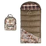 N2 Kids Green Brown Camo Hunting Themed Sleeping Bag, Outdoors Hunter Woods Camoflauge Sleep Sack Bedding, Earth Tone Log Cabin Plaid Pattern