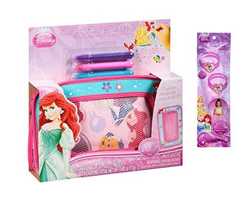 """Disney Princess """"The Little Mermaid"""" Ariel Bath Time 3D Puzzle & Bath Crayons, 5 pc Plus Bonus Princess 2pk Glow Bracelets with charm"""