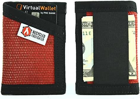 "Money Clip Wallet – ""Decommissioned Fire Hose"" - Recycled + Made in USA + Minimalist + Front Pocket - Unique wallets for Men"