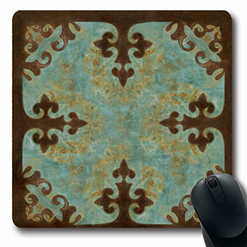 Cowboy Nap Mat - Ahawoso Mousepads Cowgirl Turquoise Leather Western Cowboy Leatherwork Oblong Shape 7.9 x 9.5 Inches Oblong Gaming Mouse Pad Non-Slip Rubber Mat