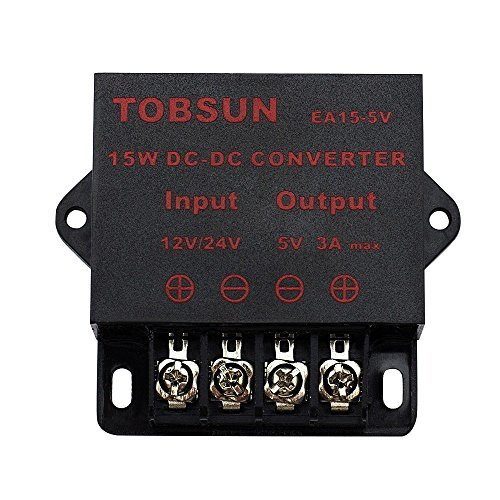 EPBOWPT DC 12V 24V to DC 5V 3A 15W Converter Step Down Voltage Regulator 5V 15W Module Power Supply Transformer for Car Audio Radio LED Display Reducer