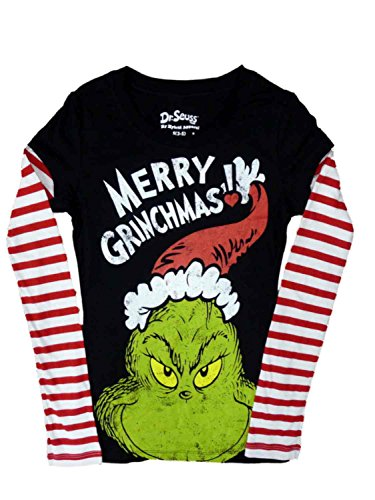 Juniors How the Grinch Stole Christmas Merry Grinchmas Graphic T-Shirt - Large